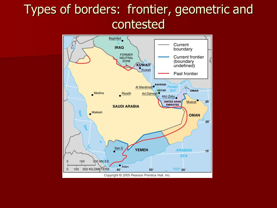 Types of borders: frontier, geometric and contested