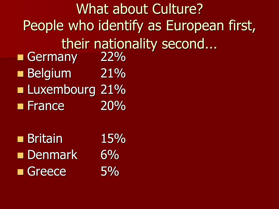 What about Culture People who identify as European first, their nationality second…