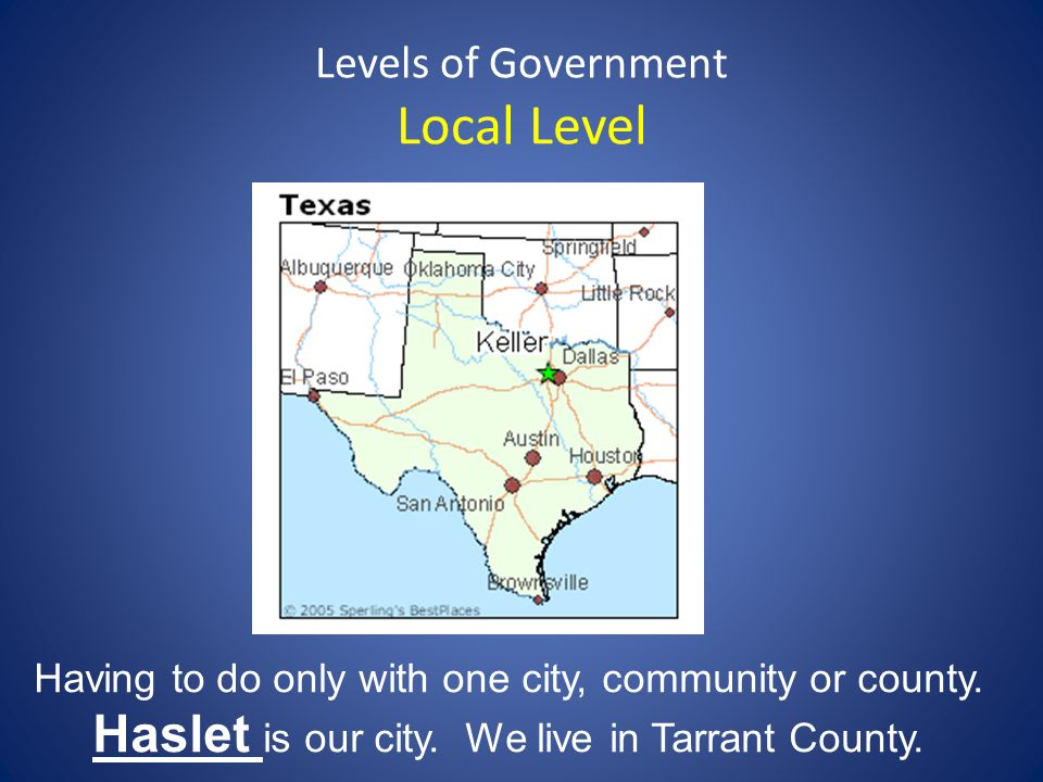 Levels of Government Local Level