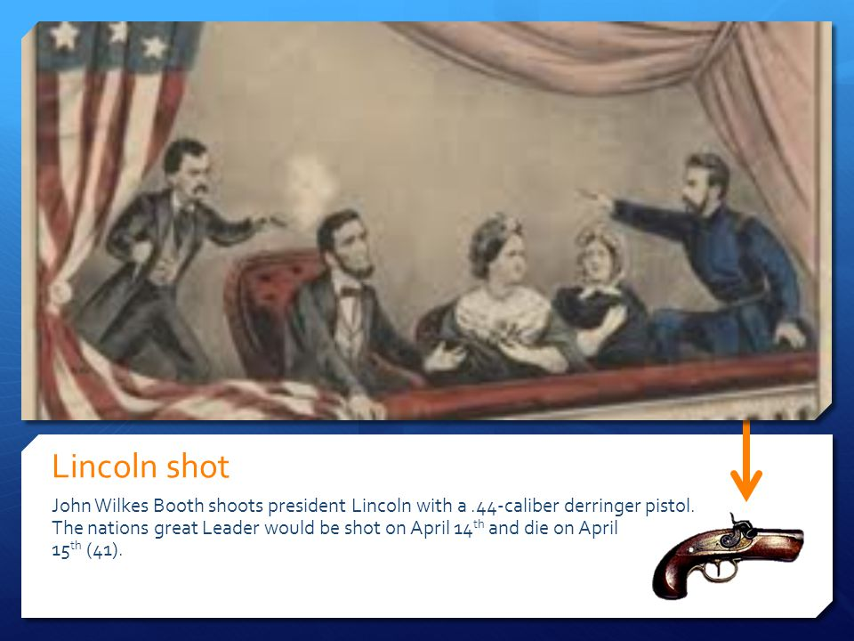 Lincoln shot John Wilkes Booth shoots president Lincoln with a .44-caliber derringer pistol.