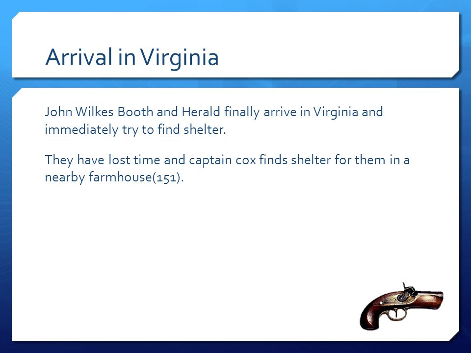 Arrival in Virginia
