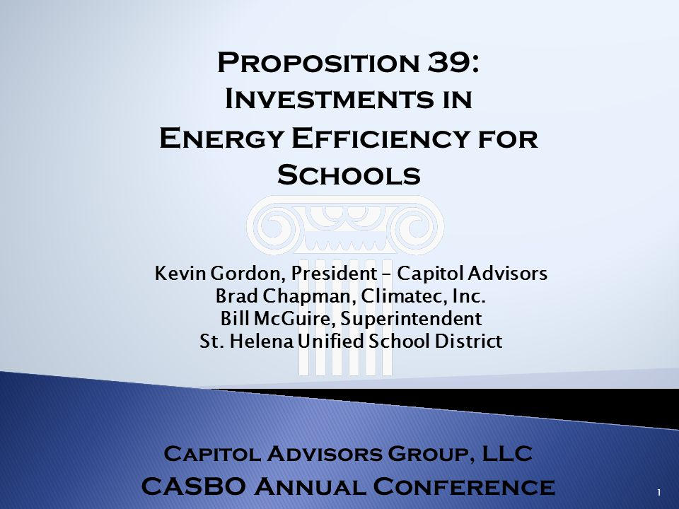 Proposition 39: Investments in Energy Efficiency for Schools