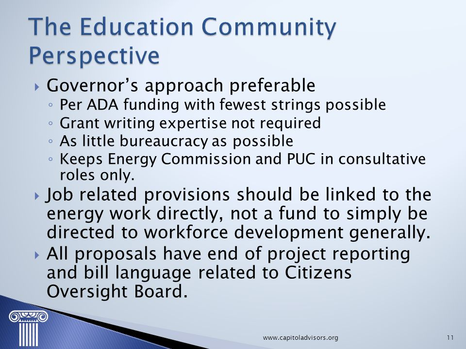 The Education Community Perspective