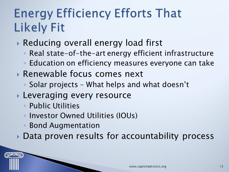Energy Efficiency Efforts That Likely Fit