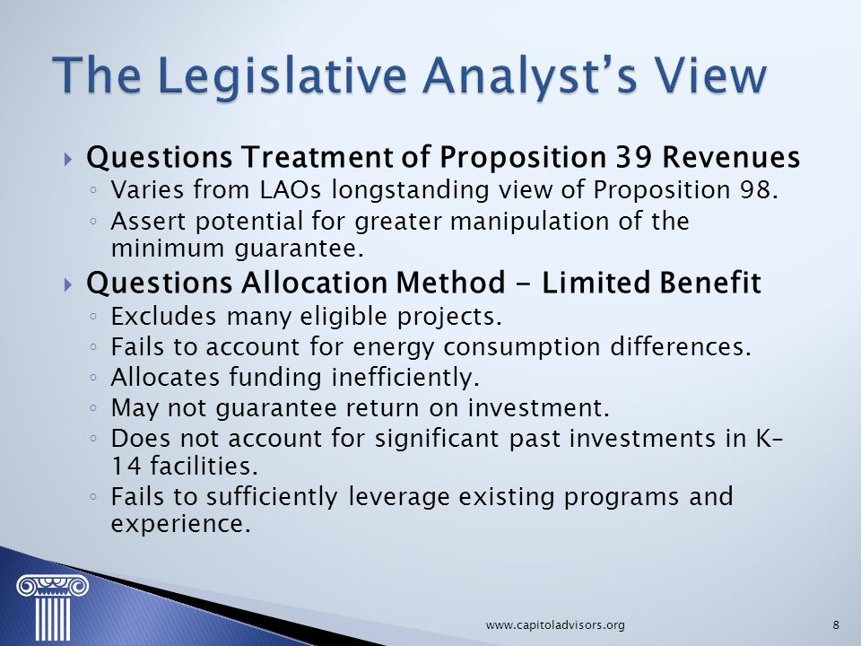 The Legislative Analyst's View