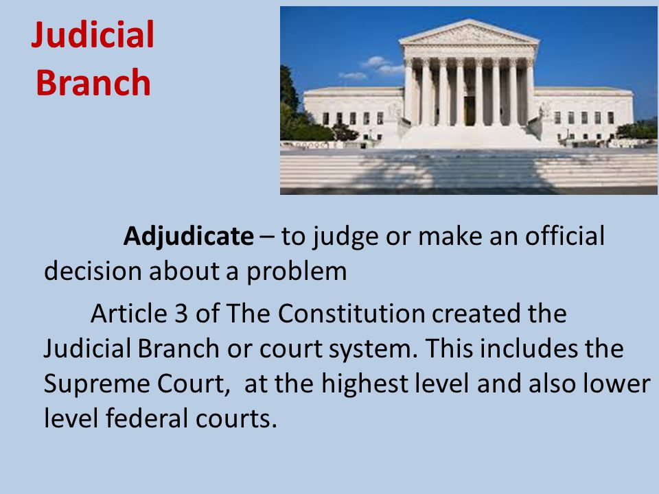 Judicial Branch Adjudicate – to judge or make an official decision about a problem.