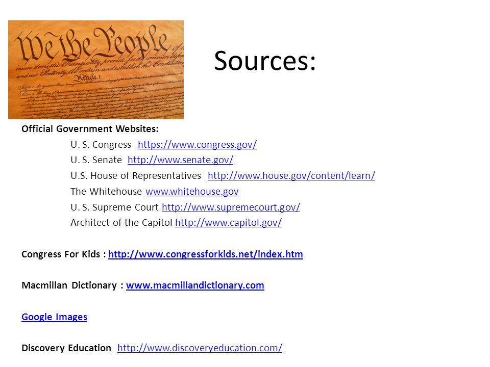 Sources: Official Government Websites: