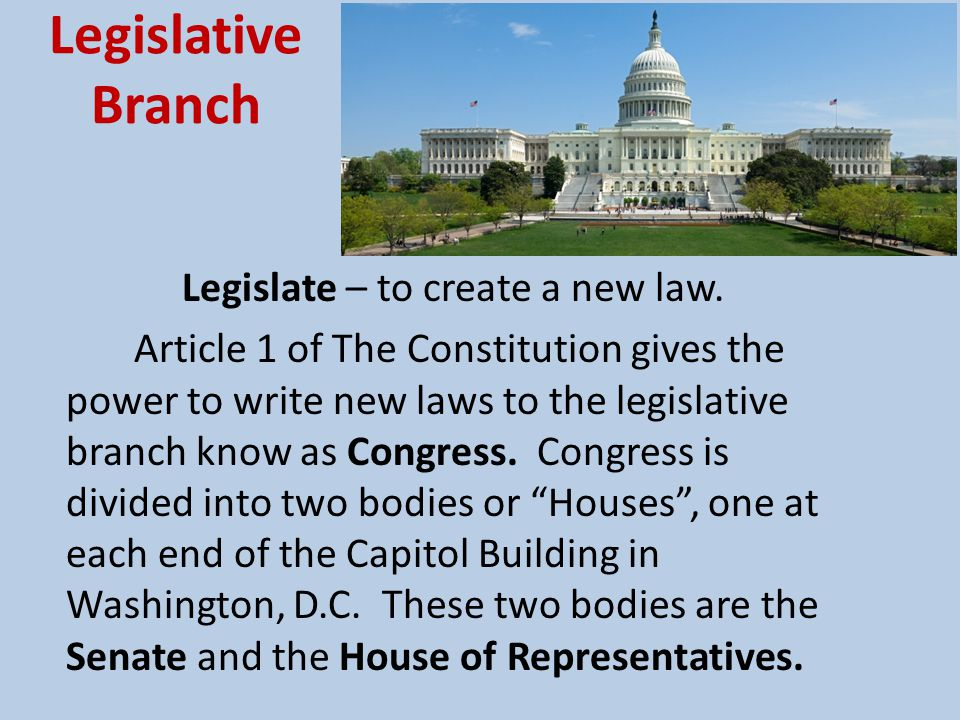 Legislative Branch Legislate – to create a new law.