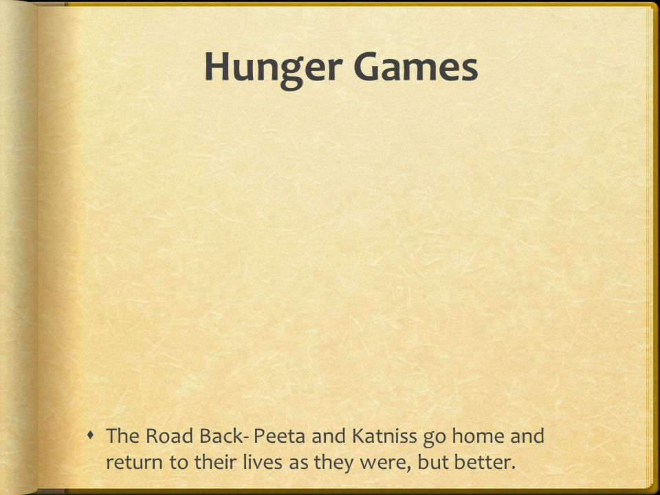 Hunger Games The Road Back- Peeta and Katniss go home and return to their lives as they were, but better.