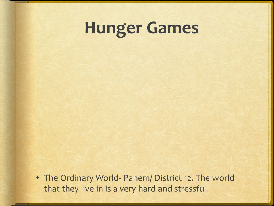 Hunger Games The Ordinary World- Panem/ District 12.