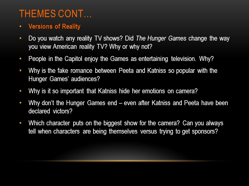 the hunger games and reality tv essay The hunger games are set up as entertainment for the citizens of the capitol and  are essentially a very extreme reality television show as with american reality.