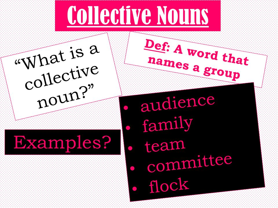 Def: A word that names a group