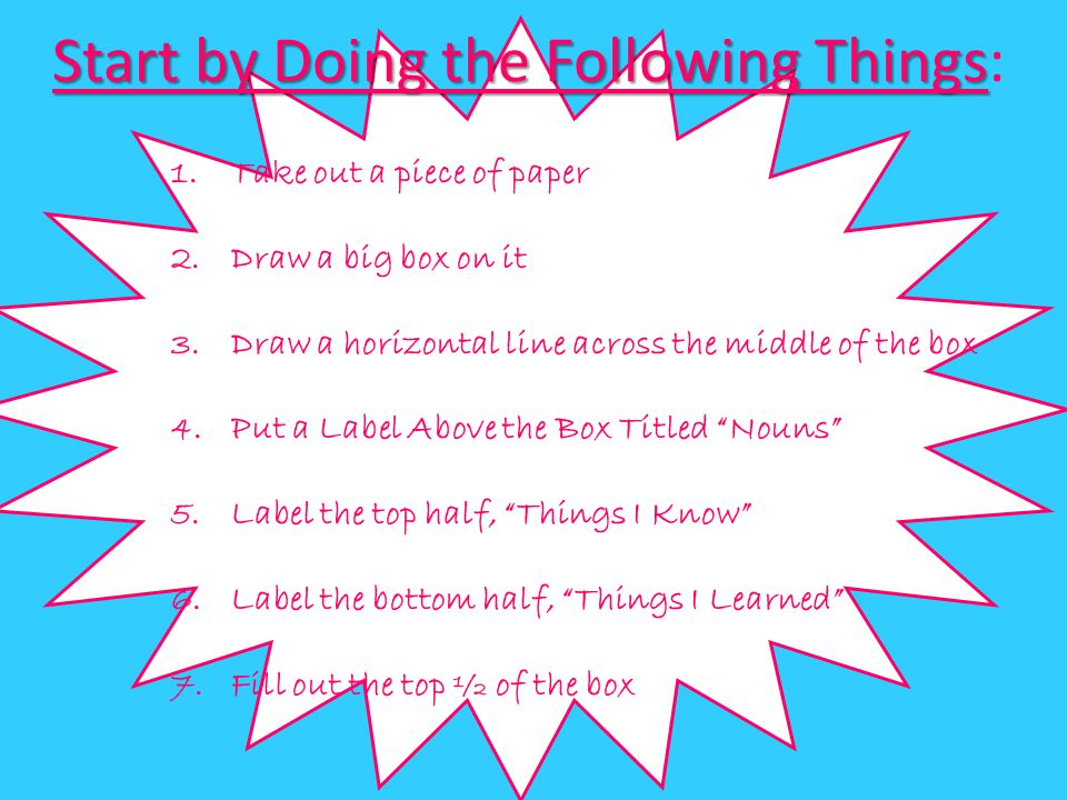 Start by Doing the Following Things: