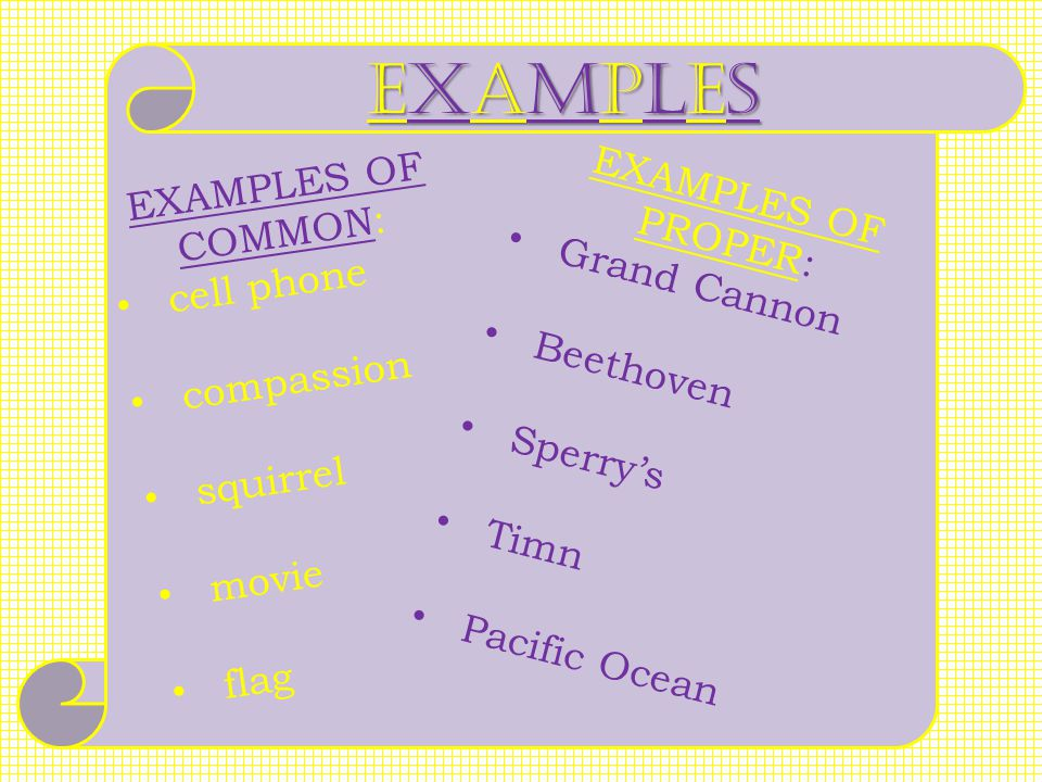 EXAMPLES EXAMPLES OF COMMON: EXAMPLES OF PROPER: Grand Cannon