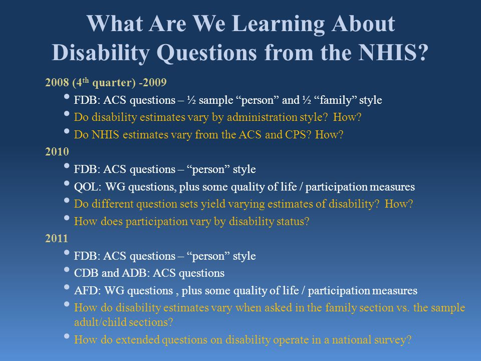 What Are We Learning About Disability Questions from the NHIS