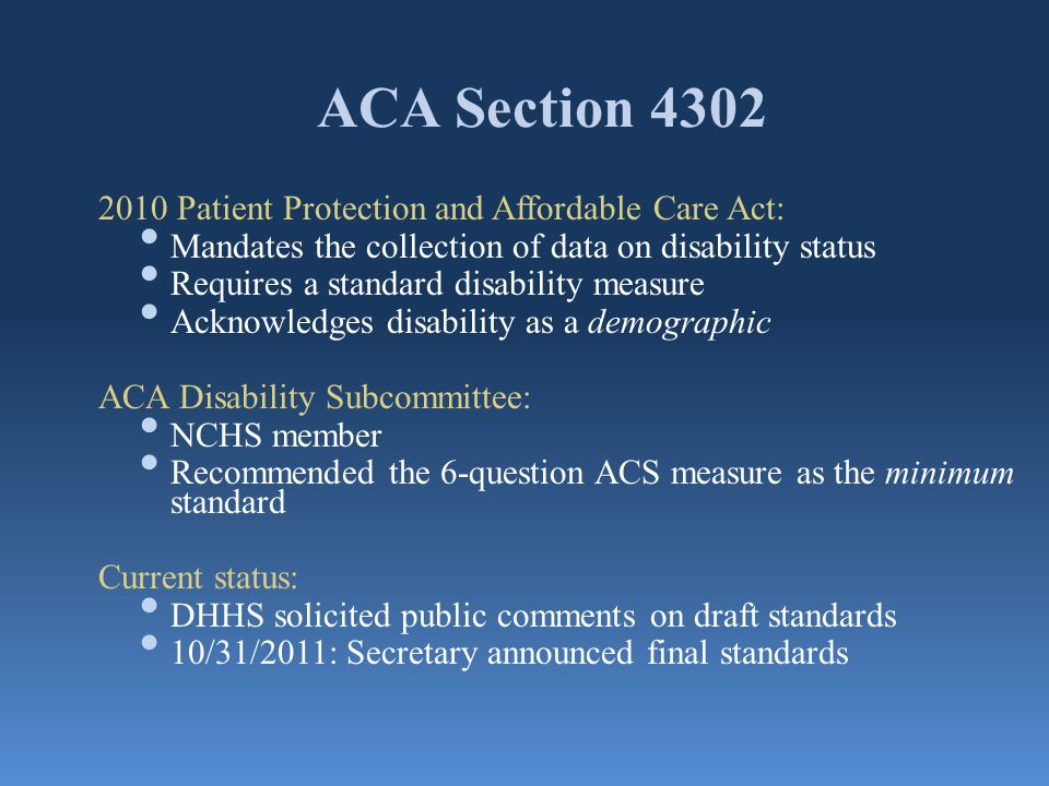 ACA Section 4302 2010 Patient Protection and Affordable Care Act: