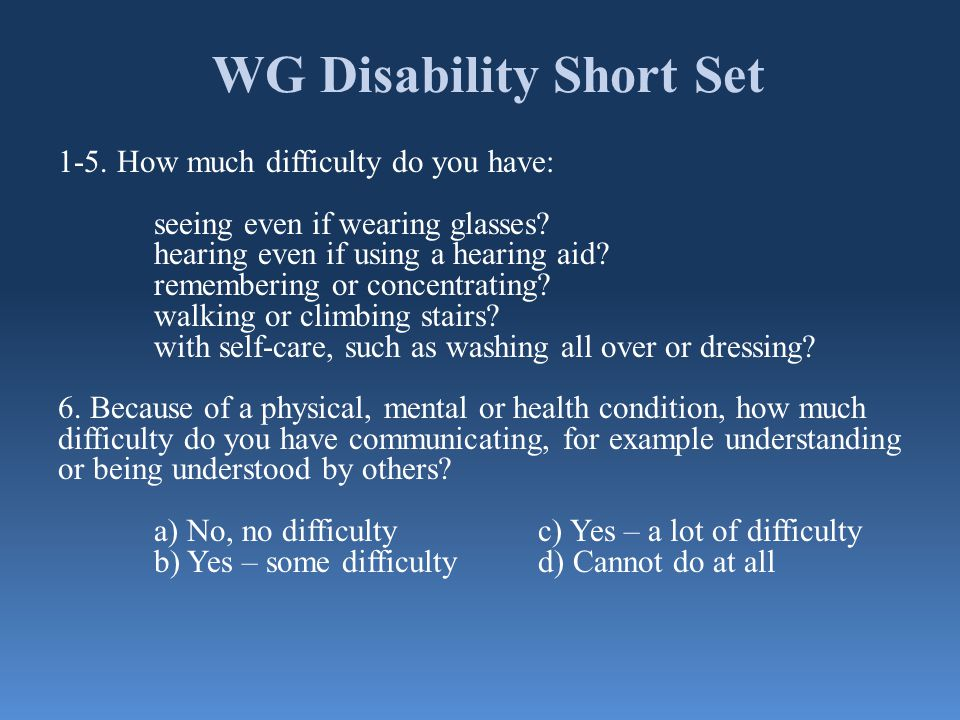 WG Disability Short Set