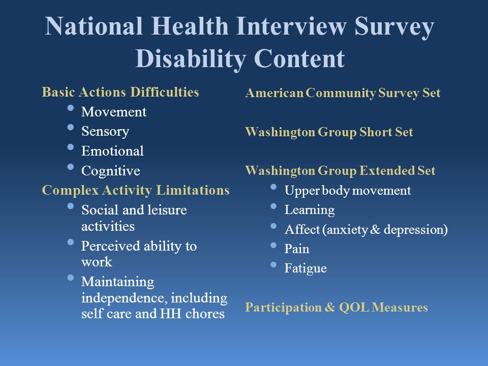 National Health Interview Survey Disability Content