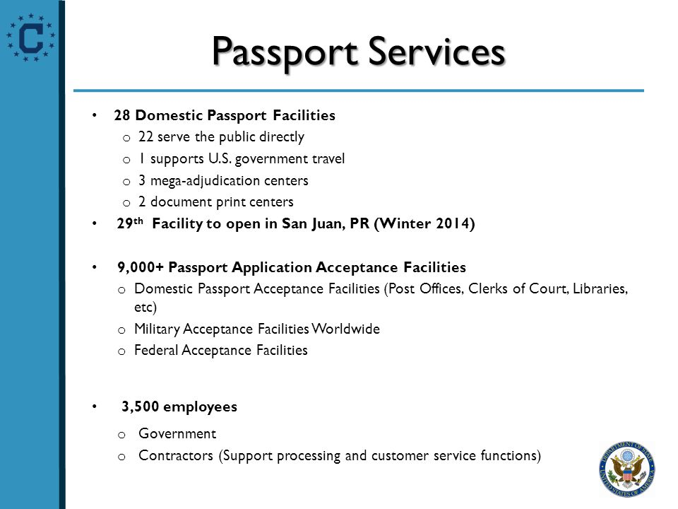 Passport Services 28 Domestic Passport Facilities