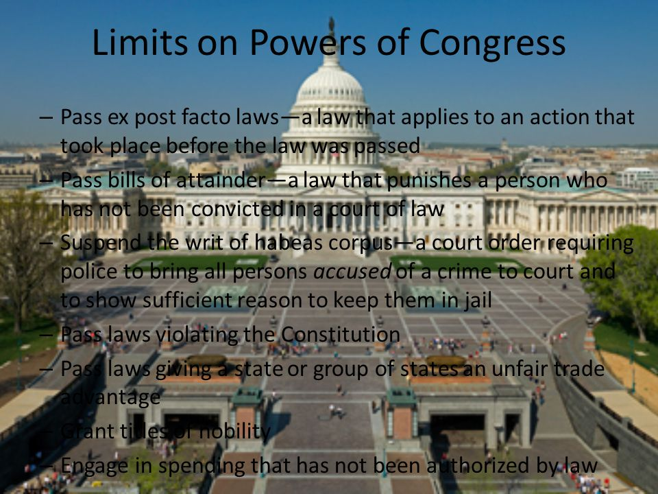 Limits on Powers of Congress