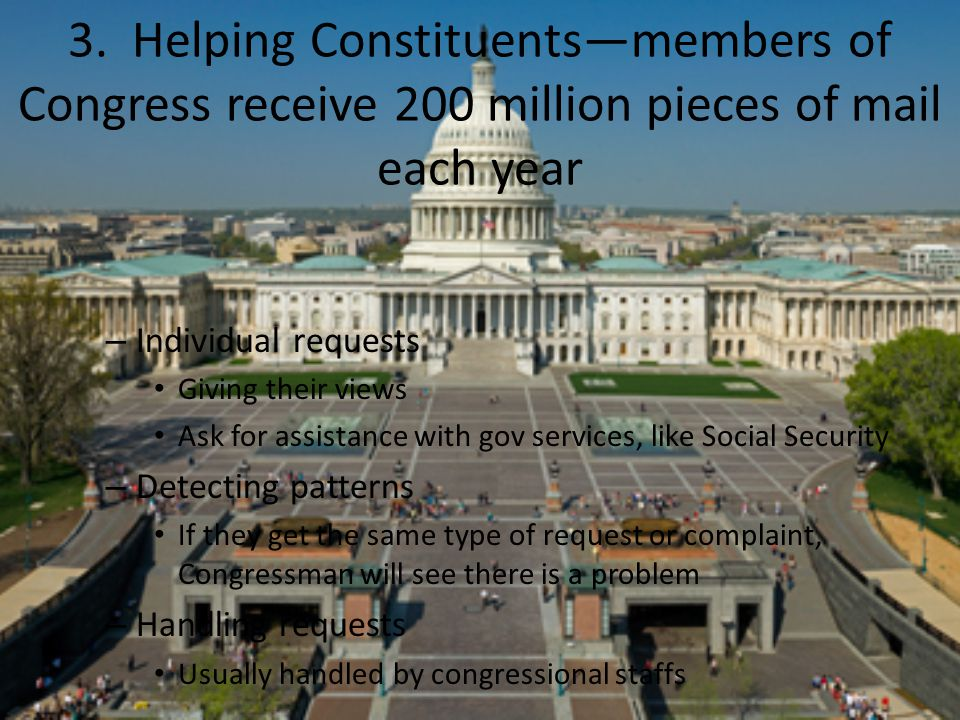3. Helping Constituents—members of Congress receive 200 million pieces of mail each year