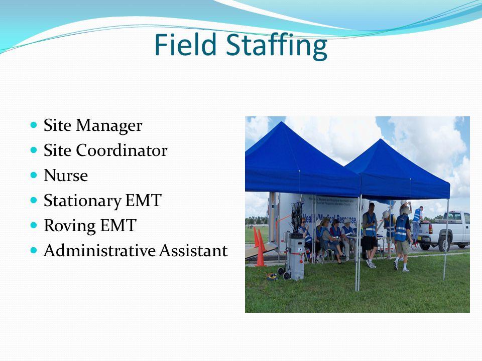 Field Staffing Site Manager Site Coordinator Nurse Stationary EMT