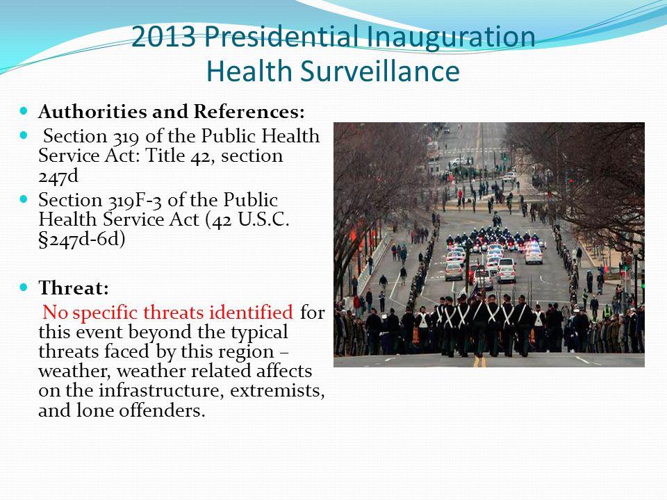 2013 Presidential Inauguration Health Surveillance