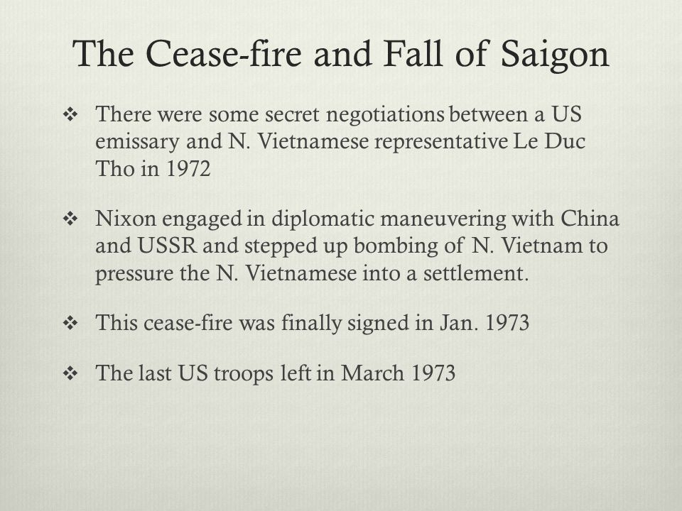 The Cease-fire and Fall of Saigon
