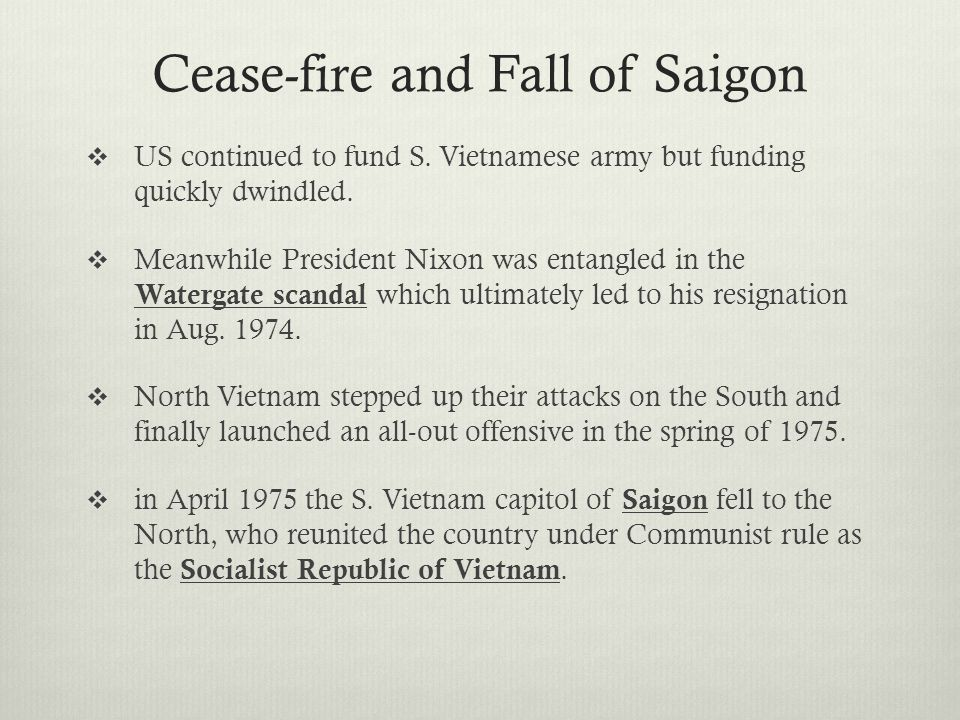 Cease-fire and Fall of Saigon