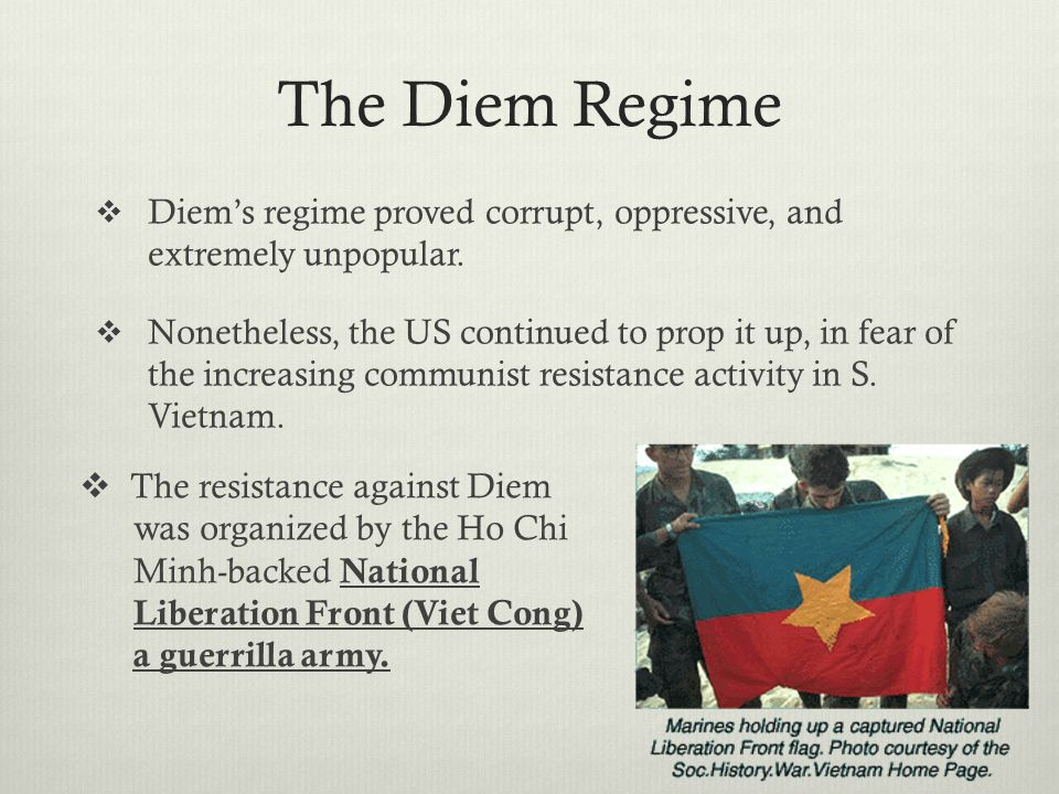 The Diem Regime Diem's regime proved corrupt, oppressive, and extremely unpopular.