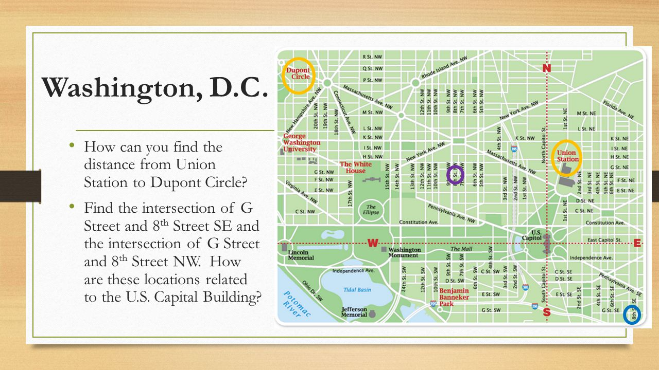 Washington, D.C. How can you find the distance from Union Station to Dupont Circle