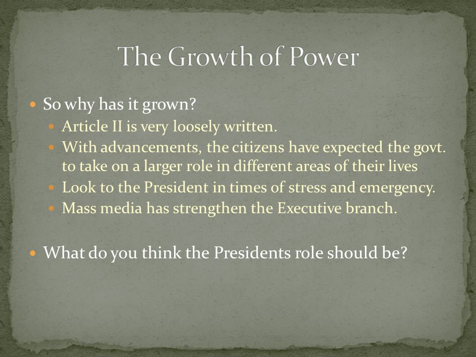 The Growth of Power So why has it grown