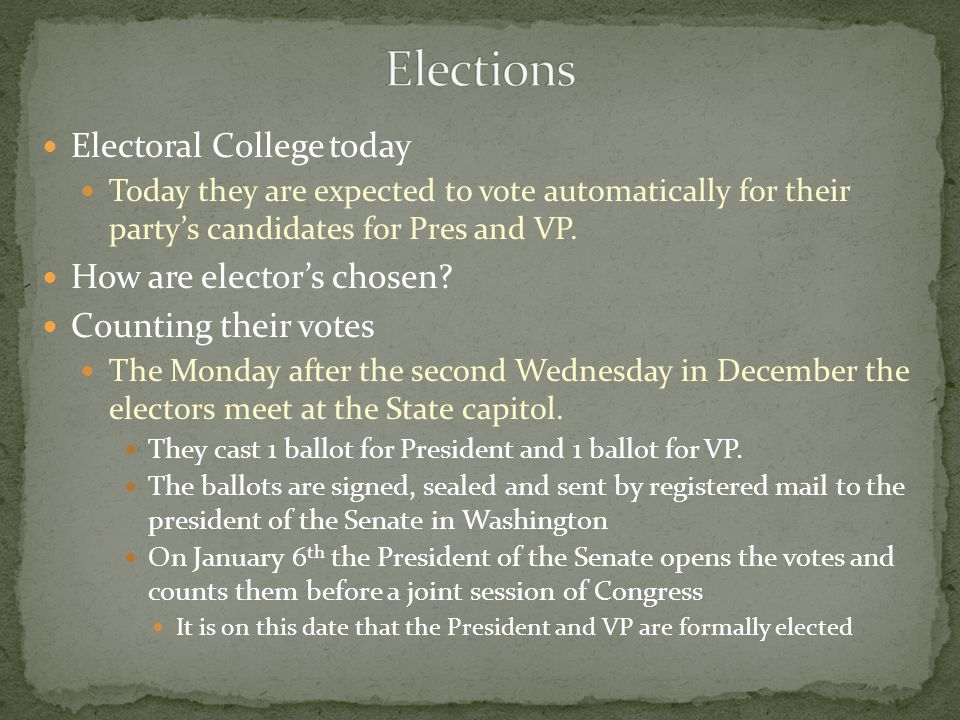 Elections Electoral College today How are elector's chosen