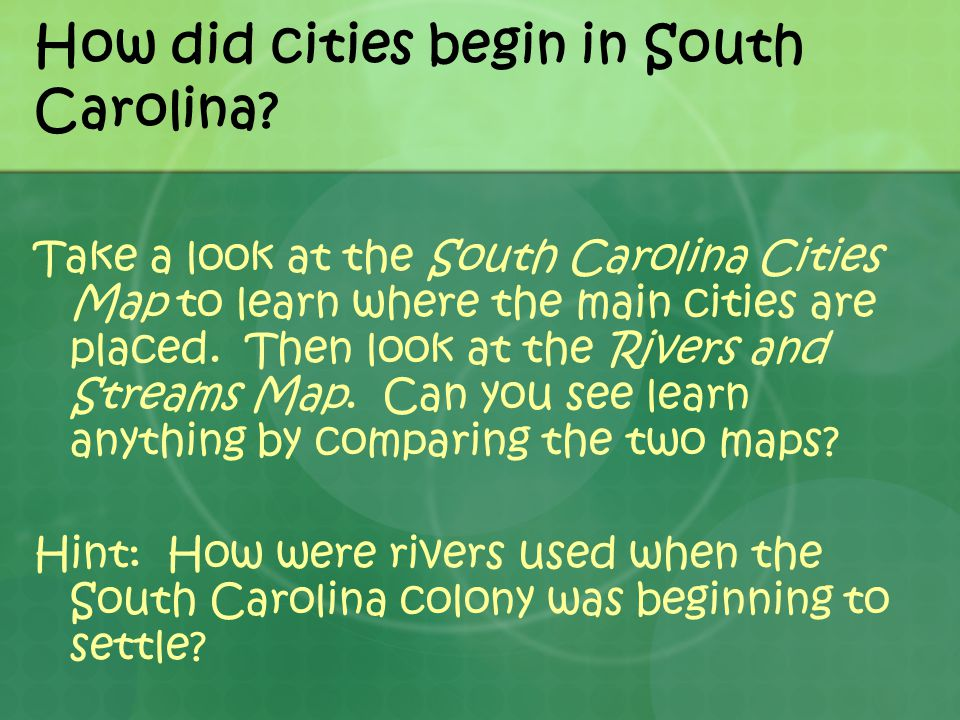 How did cities begin in South Carolina