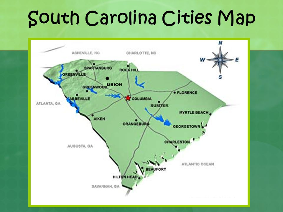 South Carolina Cities Map