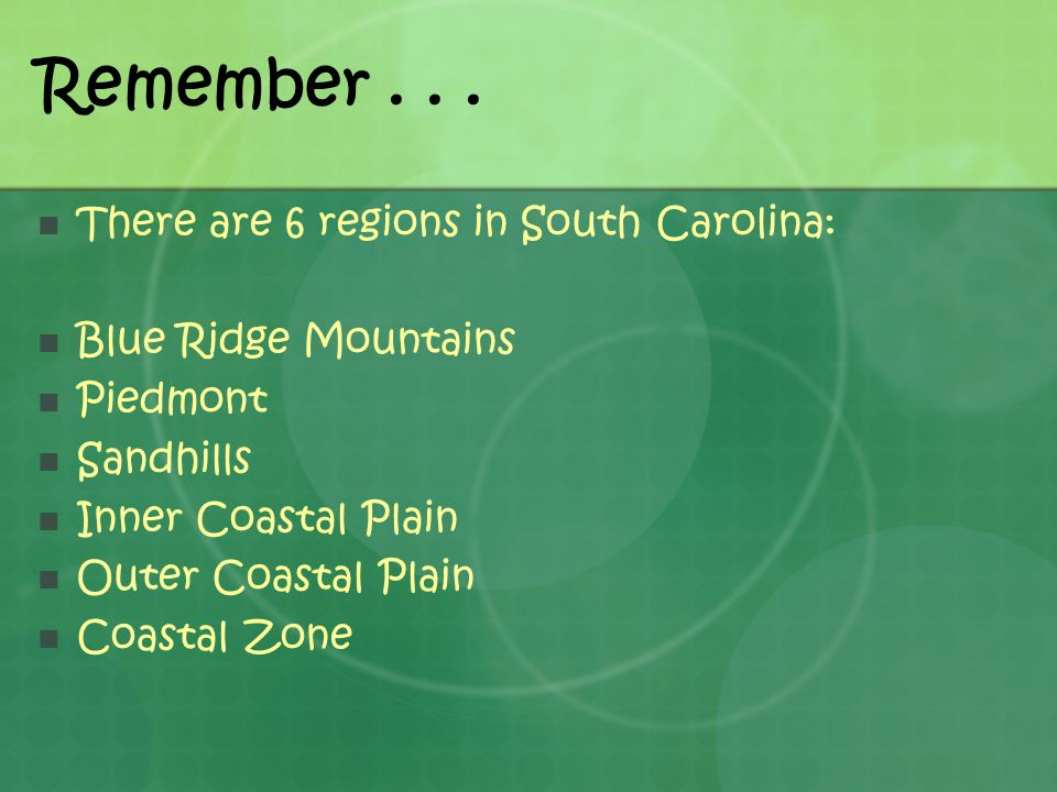 Remember . . . There are 6 regions in South Carolina:
