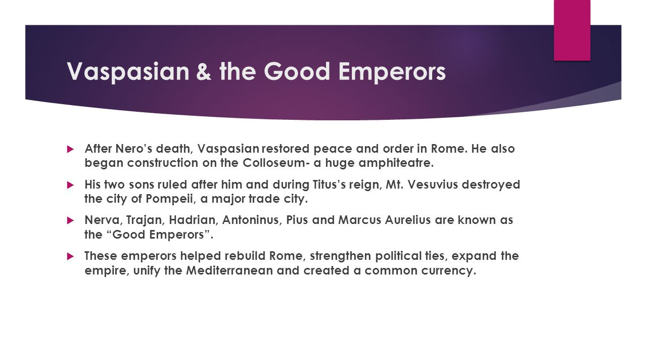 Vaspasian & the Good Emperors