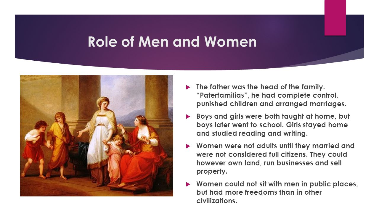 Role of Men and Women The father was the head of the family. Paterfamilias , he had complete control, punished children and arranged marriages.