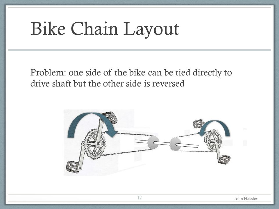 Bike Chain Layout Problem: one side of the bike can be tied directly to drive shaft but the other side is reversed.