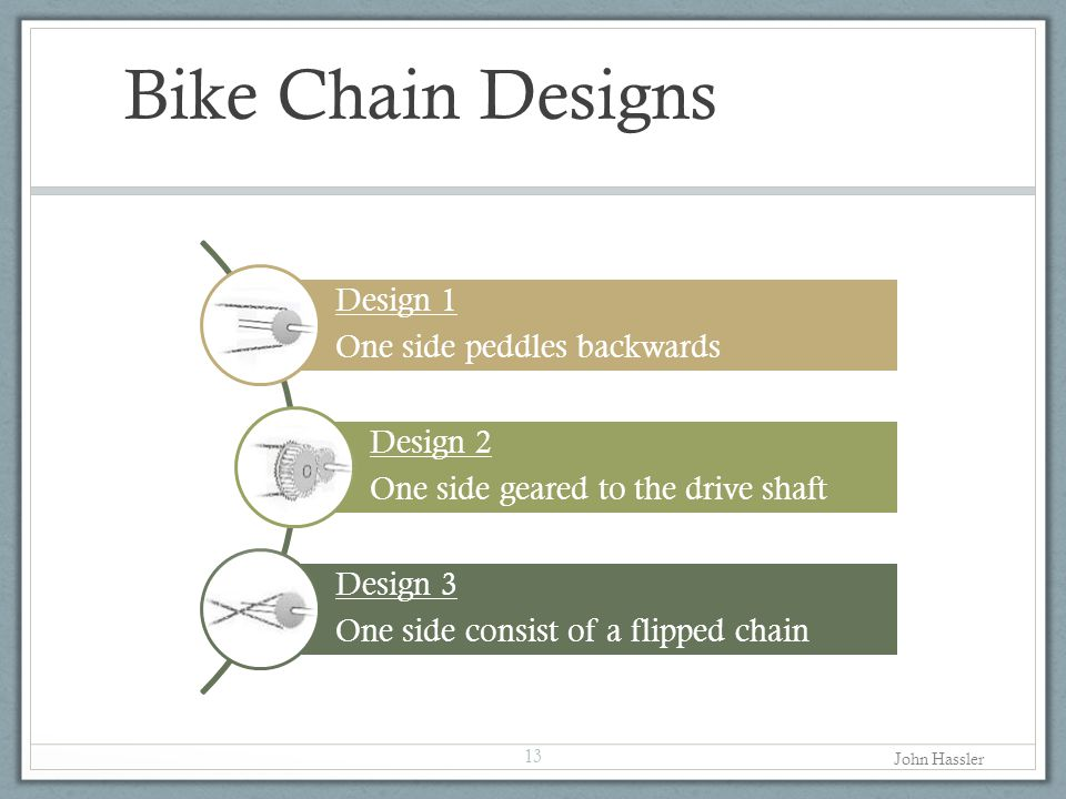 Bike Chain Designs Design 1 One side peddles backwards Design 2