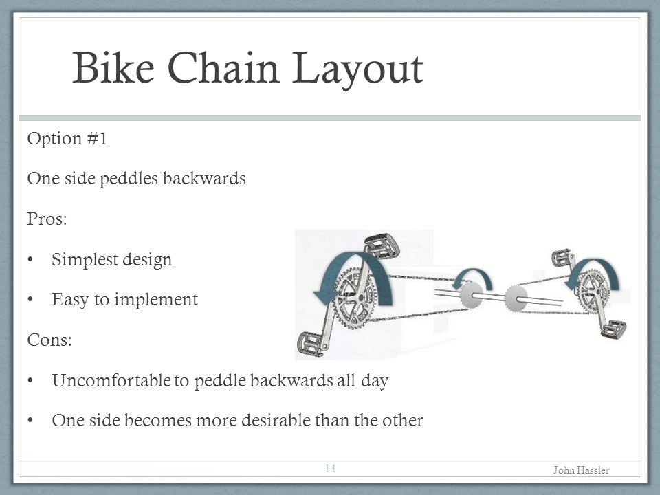 Bike Chain Layout Option #1 One side peddles backwards Pros: