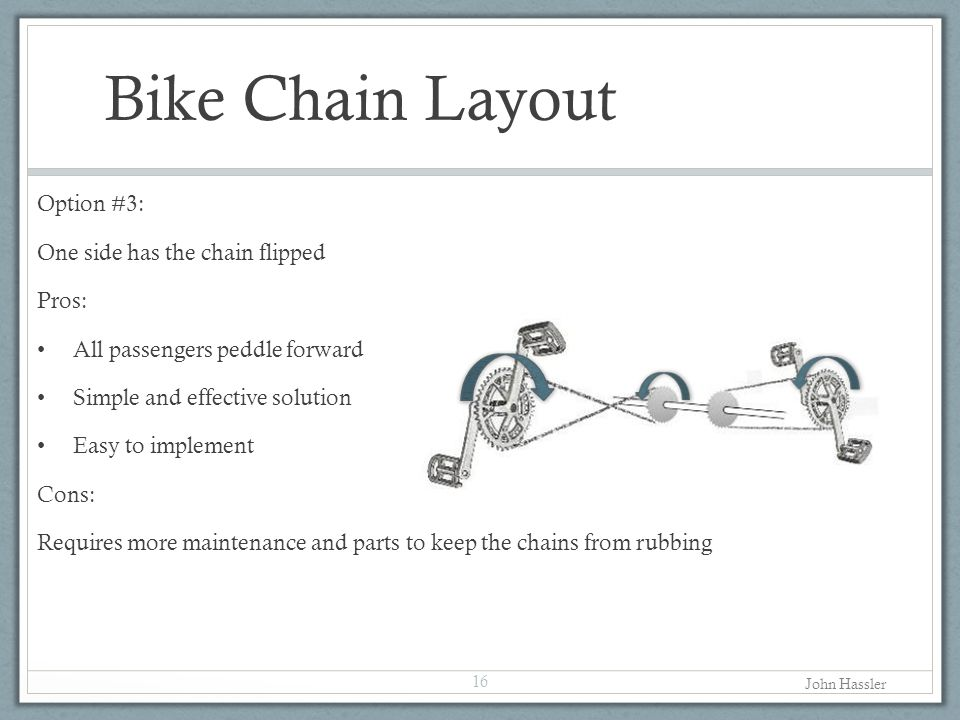 Bike Chain Layout Option #3: One side has the chain flipped Pros: