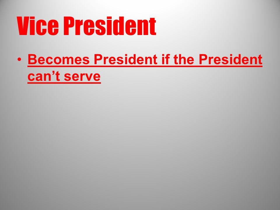 Vice President Becomes President if the President can't serve