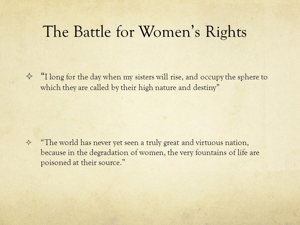 The Battle for Women's Rights