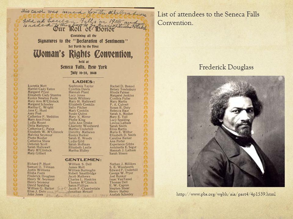 List of attendees to the Seneca Falls Convention.