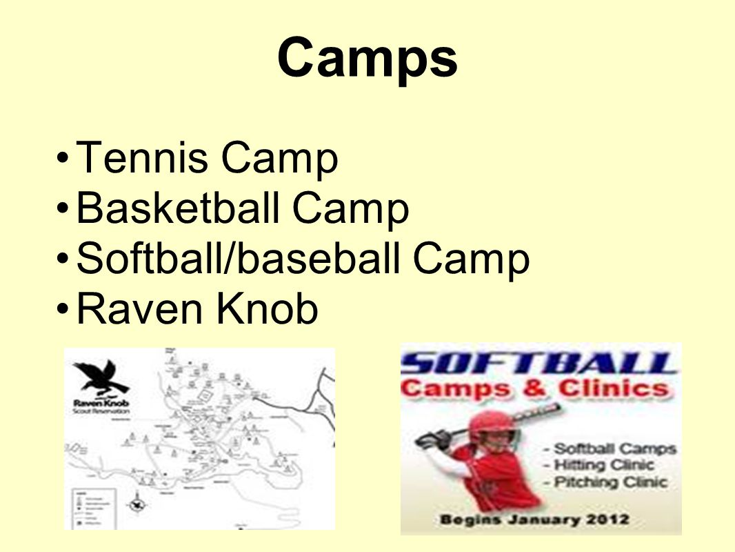 Tennis Camp Basketball Camp Softball/baseball Camp Raven Knob