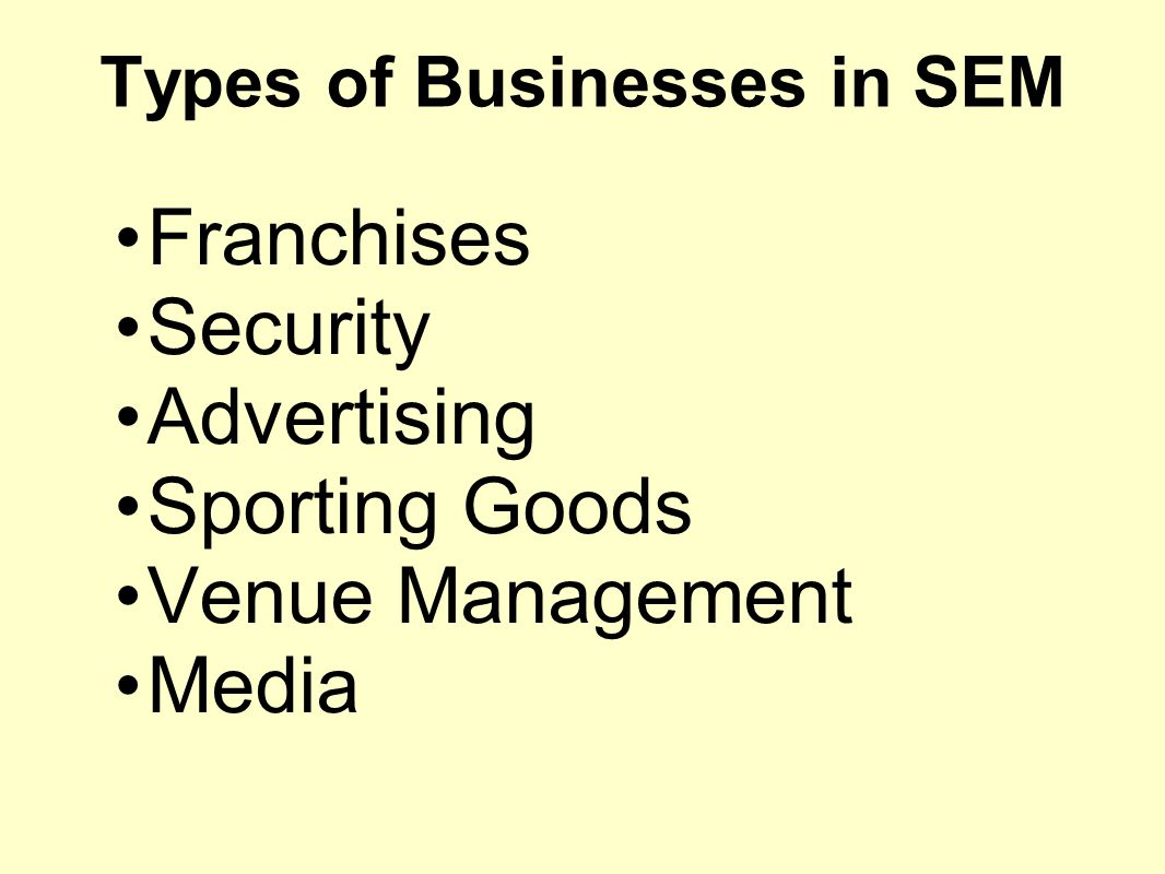 Types of Businesses in SEM