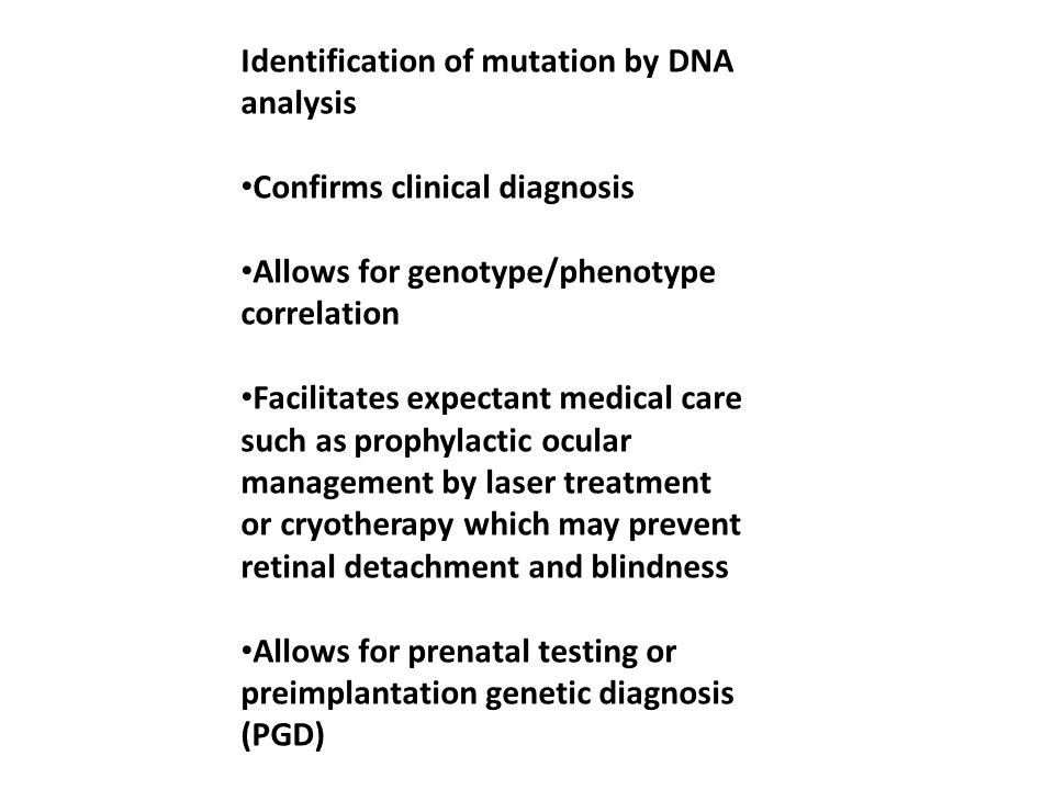 Identification of mutation by DNA analysis