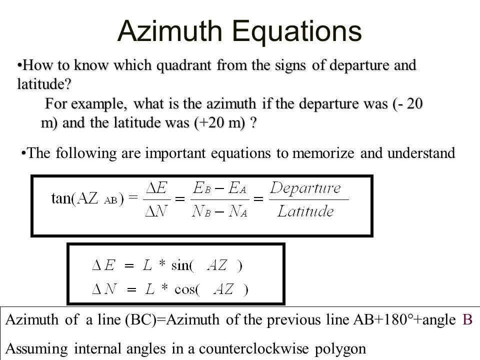 Azimuth Equations How to know which quadrant from the signs of departure and latitude