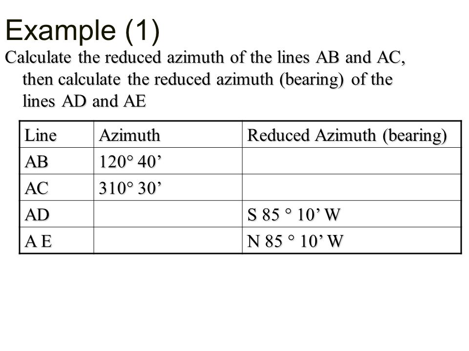 Example (1) Calculate the reduced azimuth of the lines AB and AC, then calculate the reduced azimuth (bearing) of the lines AD and AE.